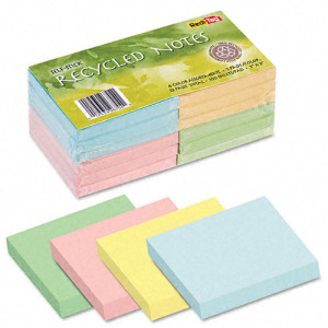 Image of 100% Recycled Colored 3 x 3 Self-Stick Notes