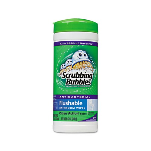 Scrubbing Bubbles Antibacterial Flushable Bathroom Wipes Dracb232237