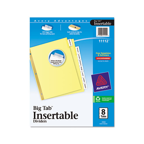 avery big tab inserts for dividers 8 tab template - avery insertable big tab dividers ave11112