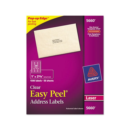 Avery 5660 Easy Peel Laser Mailing Labels 1 X 2 5 8: Avery Easy Peel Laser Mailing Labels