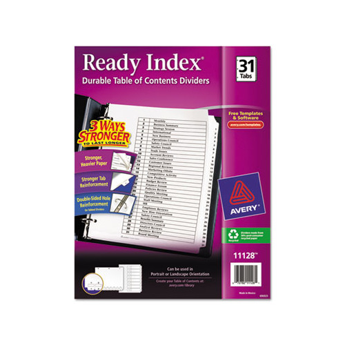 avery ready index template 31 tab - avery ready index customizable table of contents black