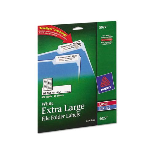 Avery x large 1 3 cut file folder labels w trueblock for Avery large labels
