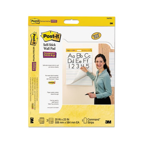 Post It Self Stick Wall Easel Primary Ruled Pad