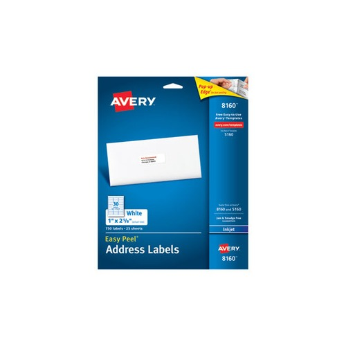 Avery Labels 8160 2250 Labels 75 Sheets Office: Avery Easy Peel Mailing Address Labels