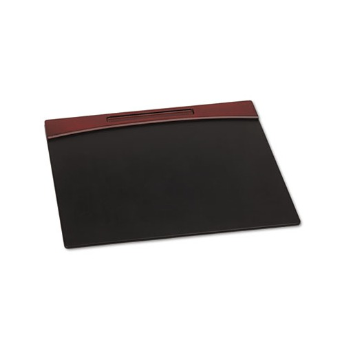 Rolodex Mahogany Wood And Black Faux Leather Desk Pad